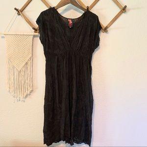 Johnny Was Black Embroidered V-Neck Dress